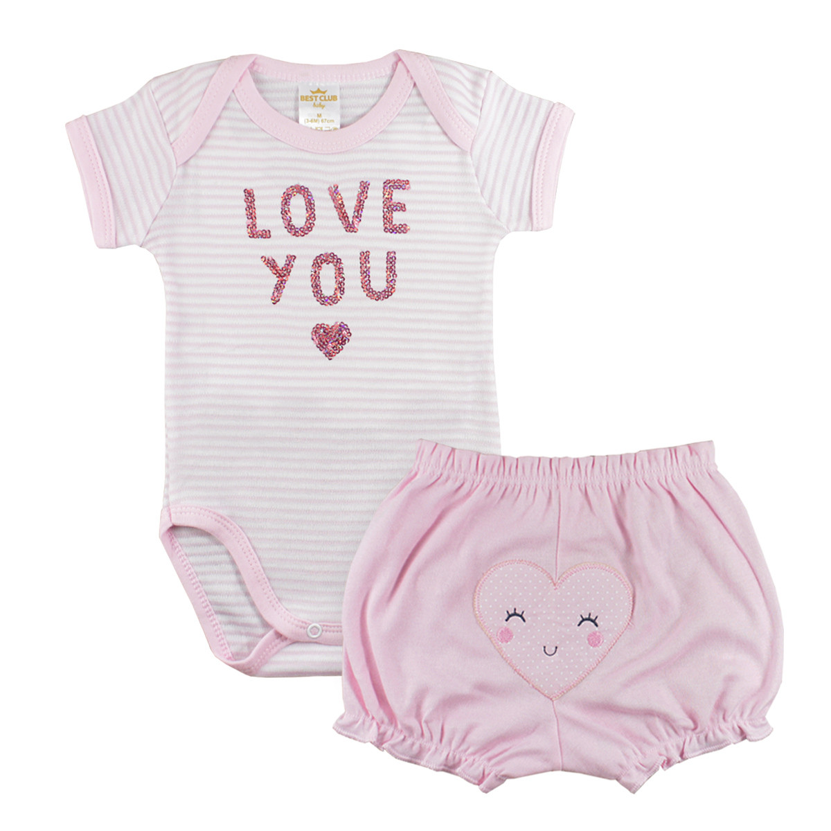 CONJUNTO PARA BEBÊ BODY E SHORTS LOVE YOU ROSA CLARO