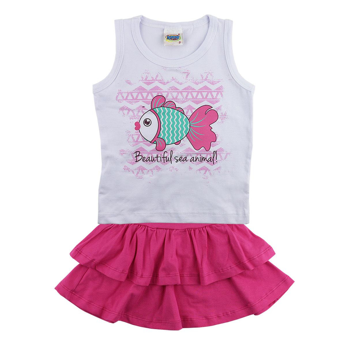 CONJUNTO BLUSA E SHORTS BEAUTIFUL SEA ANIMAL 01 À 03 ANOS DUZIZO