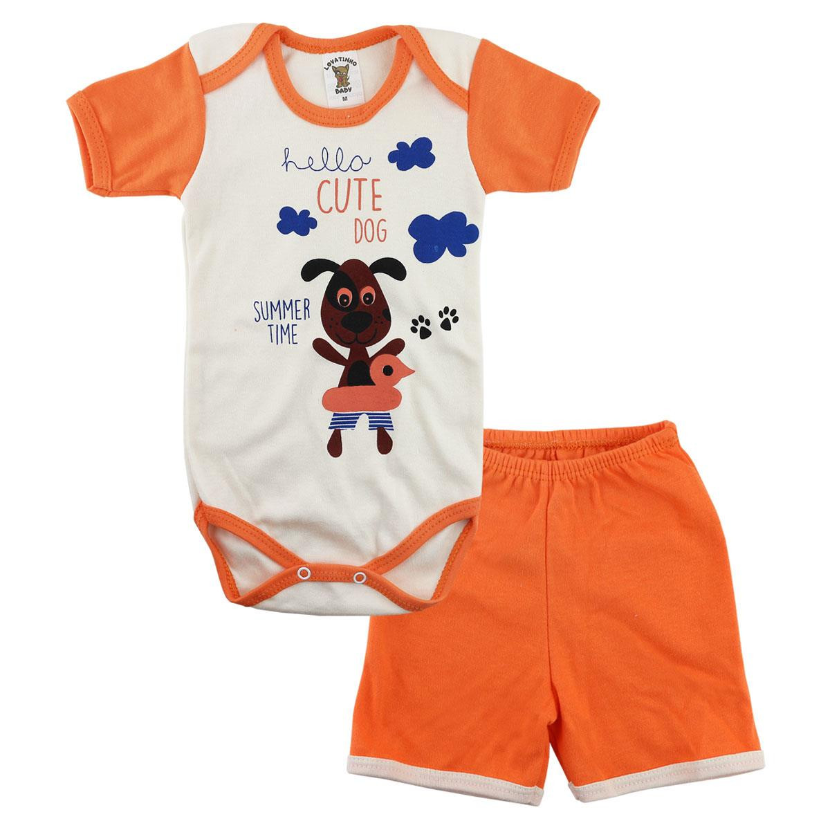 Conjunto de Body e Shorts Dog Lovatinho