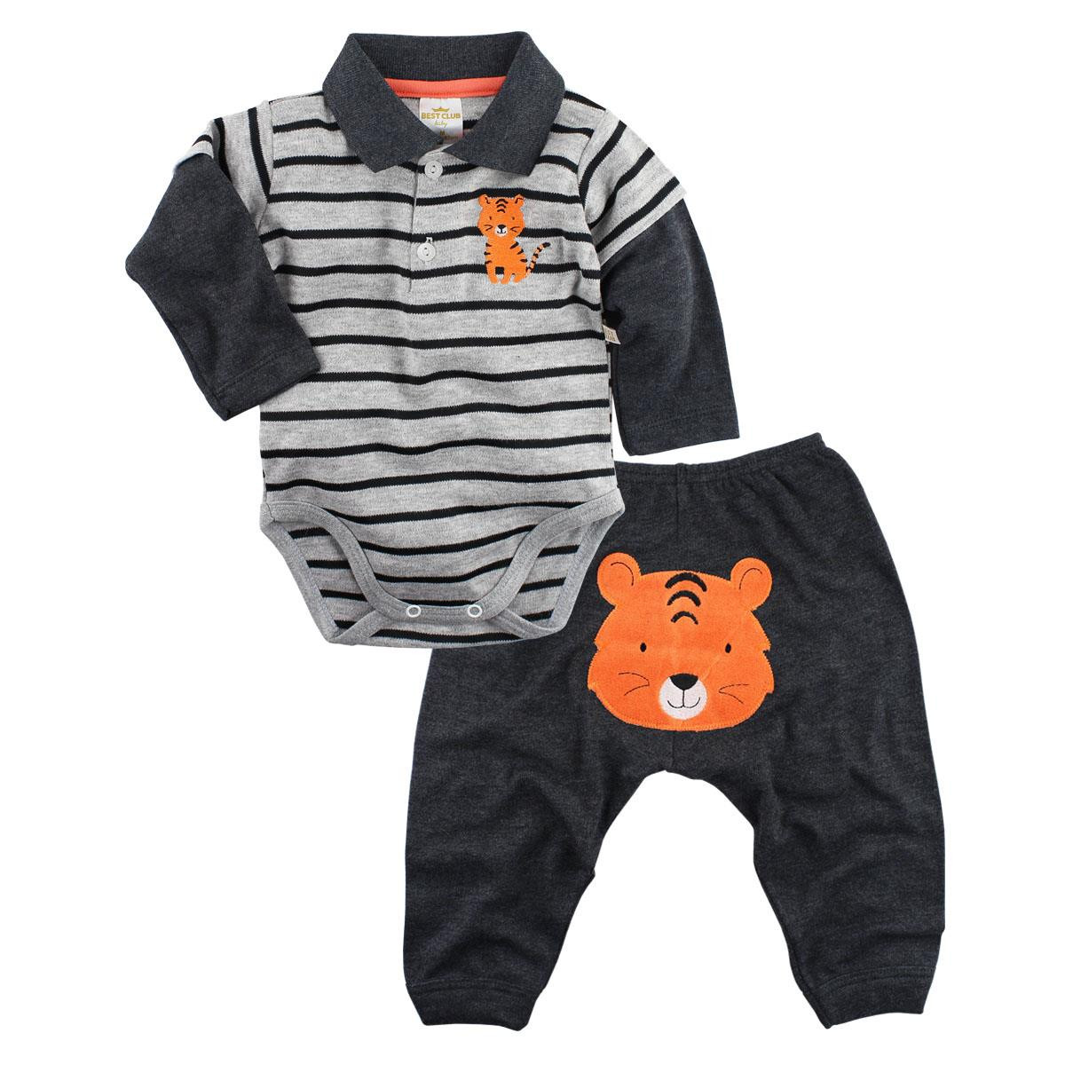 Conjunto Gola Polo Best Club Manga Longa Tiger