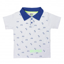 CAMISETA POLO INFANTIL MANGA CURTA ESTAMPADA BICYCLE BRANCO